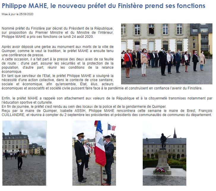 Philippe MAHE, le nouveau préfet du Finistère prend ses fonctions