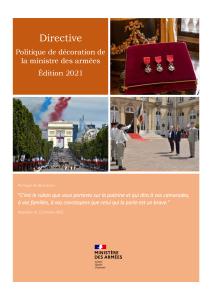 Directive Politique de décoration de la ministre des armées Edition 2021
